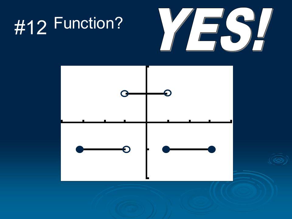 YES! Function #12 D: [-3, -1) U (-1, 3] R: {-1, 1}